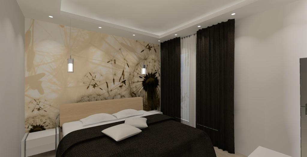Nowoczesna sypialnia– Pomysł na projekt / aranżację sypialni biało, beż, brąz w stylu ...